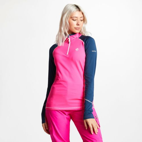 Women's Involved Core Stretch Half Zip Midlayer - Cyber Pink Blue Wing